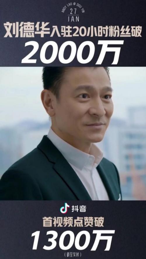 天王刘德华首开社交媒体账号 抖音着力于引入绝对头部明星